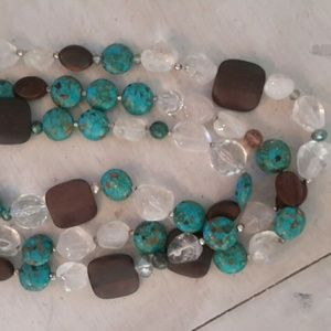 Jewelry - 3 strand turquoise, clear quartz,wood  necklace