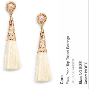 Cara Couture Jewelry - NWT Faux Pearl Top Tassel Earrings