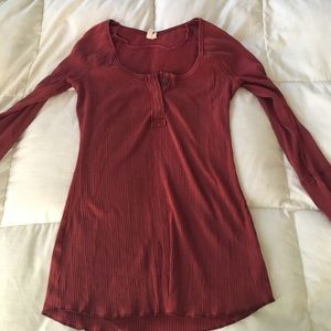 Large Free People red ribbed henley.