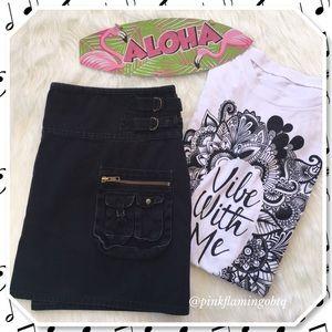 Black Cargo Pocket Mini Skirt