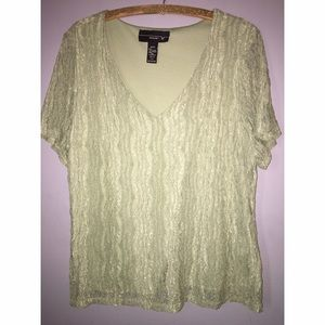 Venezia Lane Bryant Short Sleeve Lace V-Neck Sz 18
