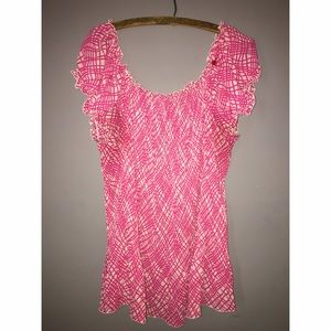 rene margo Tops - Rene Margo Pink Pattern Short Sleeve Top Sz 2x
