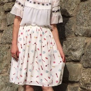 Cursing Ballerina Dresses & Skirts - Fun White Make-up Print Skirt