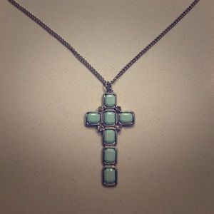Jewelry - NWOT! Beautiful Turquoise Cross Necklace!
