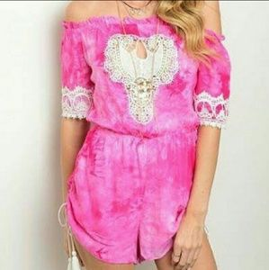 Pants - Festival lace off shoulder romper