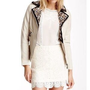 DOMA Jackets & Blazers - DOMA LEATHER Jacket Beige Moto Embroidered Bomber