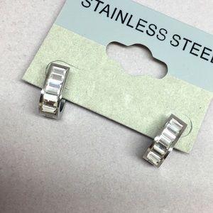 Jewelry - Stainless Steel Rhinestone Hoop
