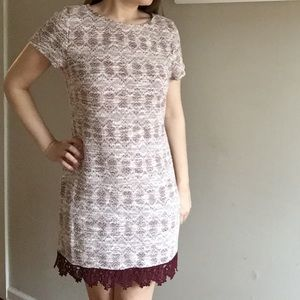Xtraordinary Dresses & Skirts - Textured Woven Shift Dress with Lace Hem