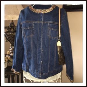 Avenue Jackets & Blazers - Avenue Embellished Snap Down Denim Jacket EUC