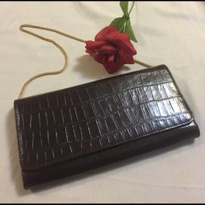 Field Manor Handbags - NWOT Brown Snakeskin Clutch w/ Removable Chain
