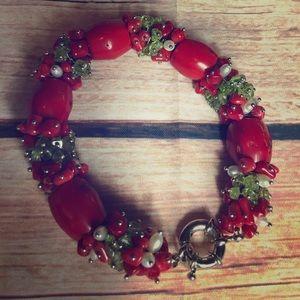 Jewelry - Vintage Artisan Mermaid Treasure Coral Bracelet