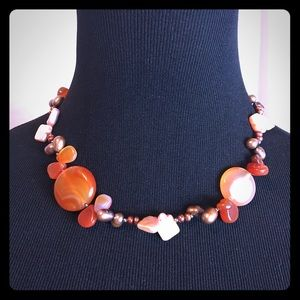 Jewelry - Vintage Artisan Gemstone, Pearl & Shell Necklace