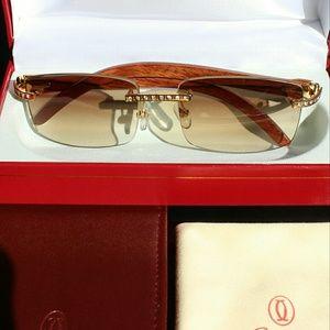 Cartier Other - Rare Diamond Wood Cartier Sunglasses - Gold