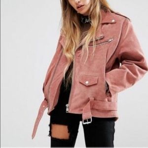 Reclaimed Vintage Jackets & Blazers - Reclaimed Vintage Dusty Rose Biker Jacket