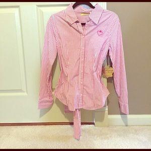 Vera Wang Tops - Vera Wang pink and white striped collared shirt