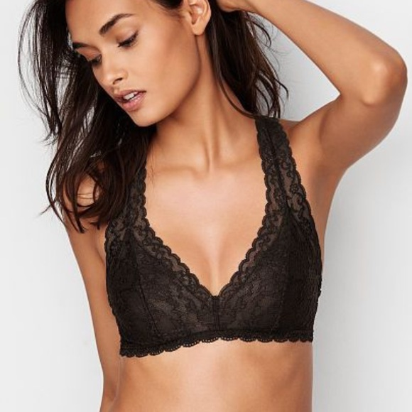 be37f4aac5bc8 Victoria s Secret black lace racerback bralette
