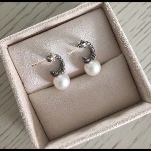 David Yurman Jewelry - Authentic {David Yurman} Pearl Hoop Earrings.