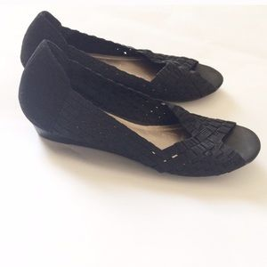 IMPO Black stretch braided peep toe Shoes