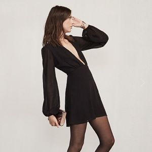 Reformation Goya Black Plunge Neck Mini Dress NWOT