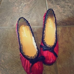Shoes - Red pleated satin and lace pumps NWOT Shoes