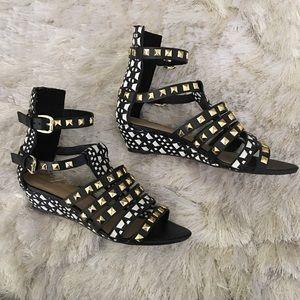 Zara Shoes - Zara Studded Ethnic Print Gladiator Sandals 37