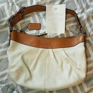 Coach Handbags - Coach White and Tan Leather Shoulder Bag
