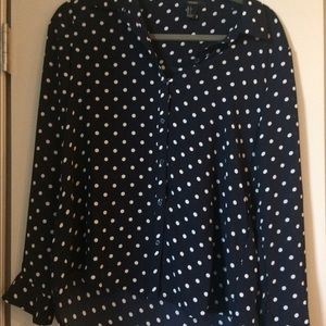 Black and white polka dot button up blouse