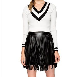 HM Leathercraft Dresses & Skirts - H&M fringe leather skirt