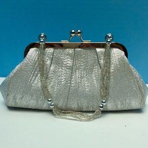 La Regale Handbags - La Regale silver evening bag &silver beaded handle