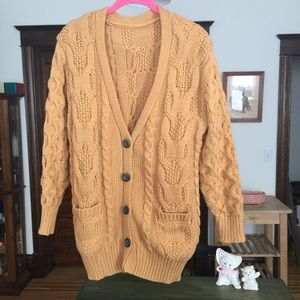 Kawaii forest girl mustard oversized cardigan