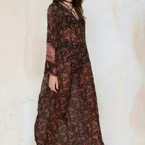 Mes Demoiselles Dresses & Skirts - Mes Demoiselles Sheer Dark Floral Boho Dress