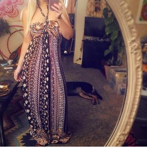 patterned halter braided maxi dress