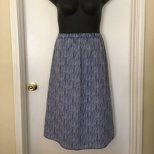Striped Pull-On Midi Skirt