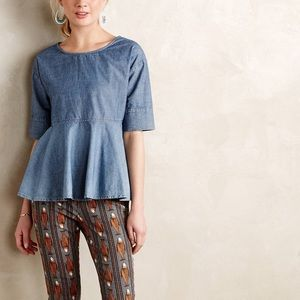 Anthropologie AG Chambray Peplum Top
