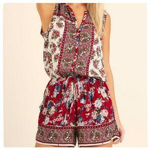 Umgee  Pants - Button Up Floral Print Romper