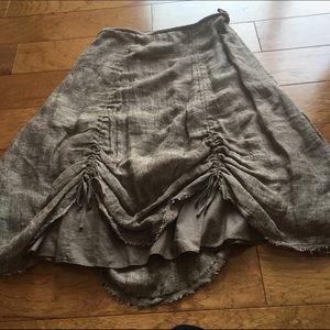 Lagenlook boho Eileen Fisher  gather skirt linen M