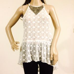 Black Swan White Lace Embellished Top