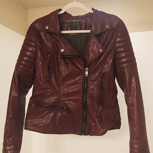 BLANKNYC faux leather jacket in red.