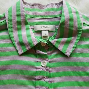 J. Crew Tops - J. CREW Striped Henley Style  Collared Tunic