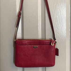 Red pebble leather cross body coach bag