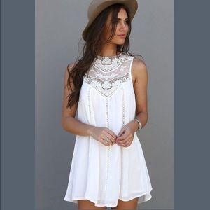 Tops - Sheer White Crochet Lace Long Top Boho Hippie