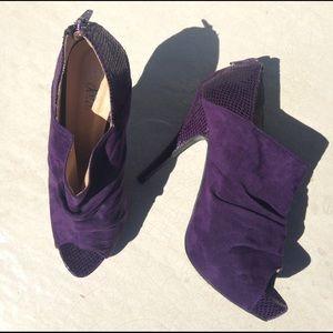 Dots Shoes - Dots Suede/Snakeskin Peep Toe Pumps