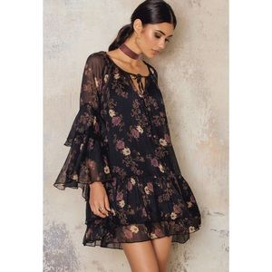 NWT Free People Sunsetter Ruffle Floral Mini Dress