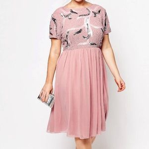 ASOS Dresses & Skirts - Pink Embellished Skater Dress
