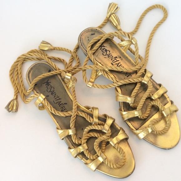 bac9fbae8fe Yves Saint Laurent Shoes | Vintage Yves St Laurent Gold Gladiator ...
