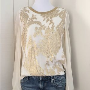 Marchesa Tops - Marchesa Voyage Gold Cream Embroidered Blouse