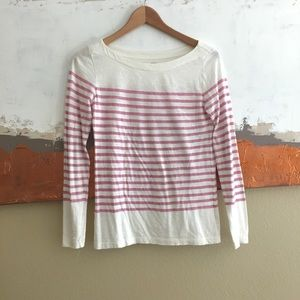 LOFT pink and white striped long sleeved tee