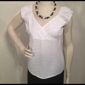 Tops - Lemon Kiss White Eyelet Blouse