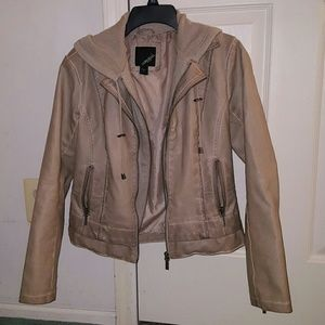 Collection B Jackets & Blazers - Nude faux leather jacket