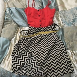 Everly Grey Dresses & Skirts - Chevron Dress w yellow belt
